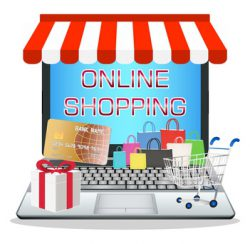 laptop with online marketing store